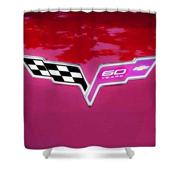 2013 Corvette 60th Anniversary Hood Logo Painted Shower Curtain
