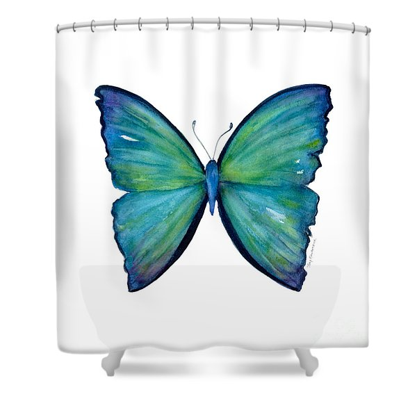 21 Blue Aega Butterfly Shower Curtain