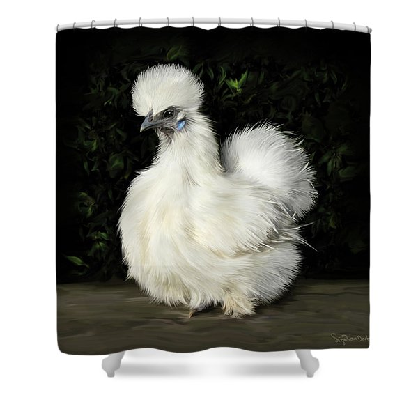 24. Tiny White Silkie Shower Curtain