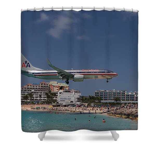 American Airlines At St. Maarten  Shower Curtain