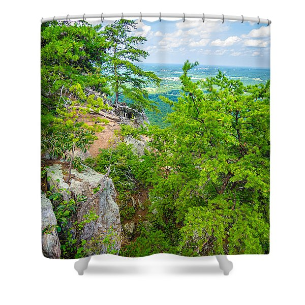 Shower Curtain featuring the photograph Beautiful Aerial Landscape Views From Crowders Mountain North Ca by Alex Grichenko