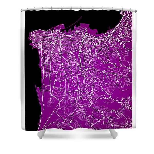 Beirut City Street Map - Beirut Lebanon Road Map Art On Color Shower Curtain