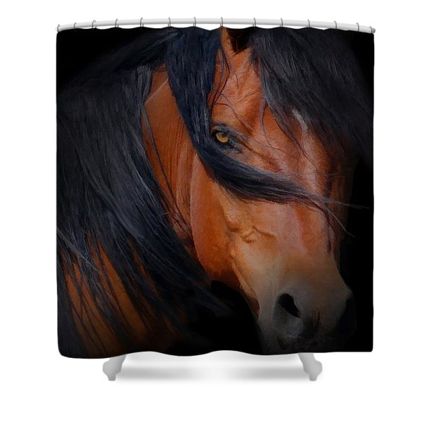Horse With Windswept Mane Blood Bay  Shower Curtain