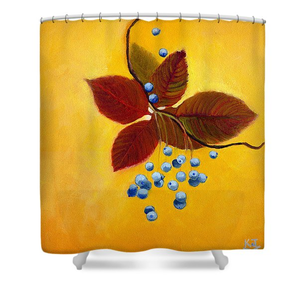 Blue On Yellow Shower Curtain