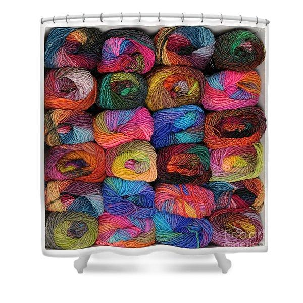 Colorful Knitting Yarn Shower Curtain