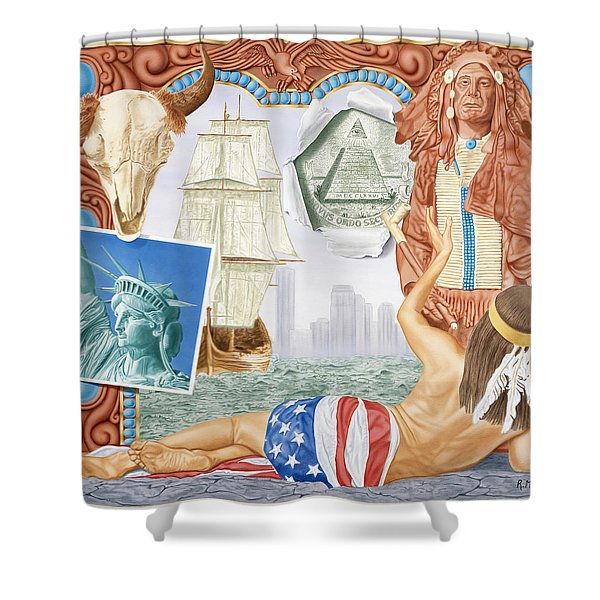 Destruction Of Native America Shower Curtain