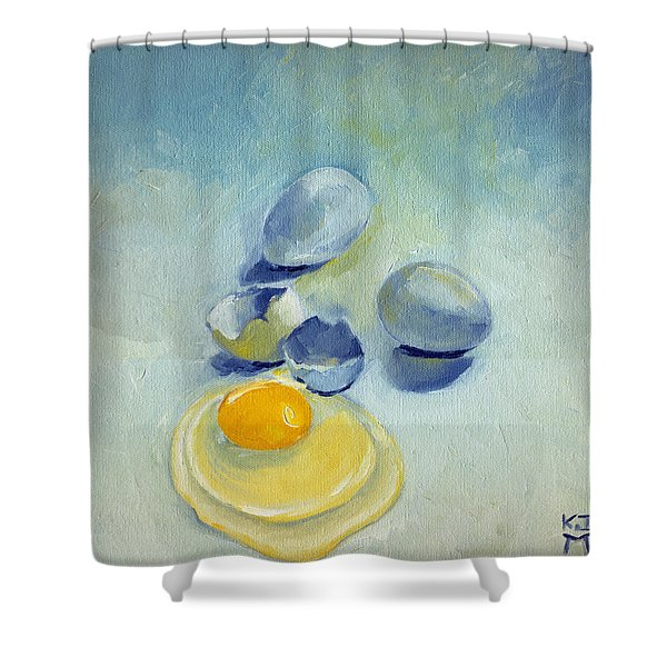 3 Eggs On Blue Shower Curtain