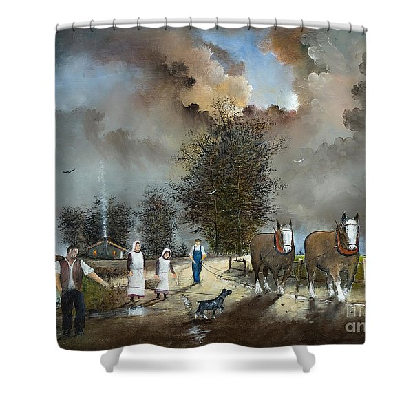 Shower Curtain featuring the painting End Of The Day by Ken Wood