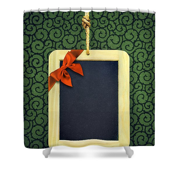 Hanged Xmas Slate - Bow  Shower Curtain