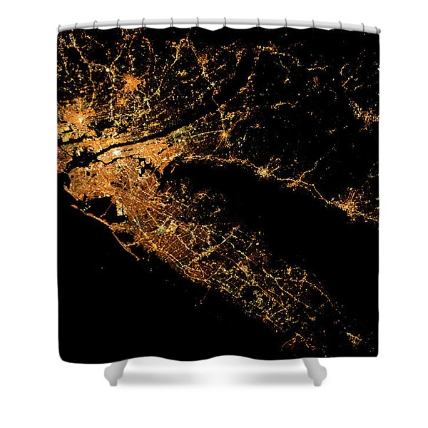 Night Time Satellite Image Of New York Shower Curtain