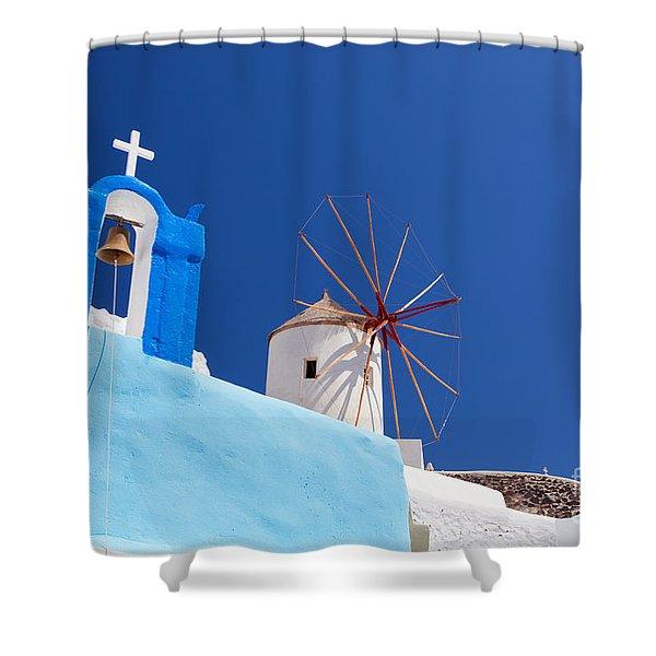 Oia Town On Santorini Island Greece Shower Curtain