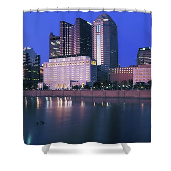 Skyscrapers At The Waterfront, Scioto Shower Curtain