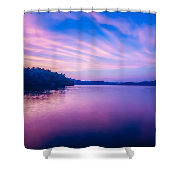 Sunset During Blue Hour At The Lake Shower Curtain