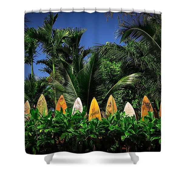 Surf Board Fence Maui Hawaii Shower Curtain