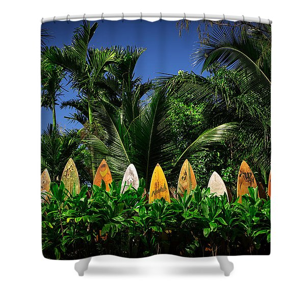 Shower Curtain featuring the photograph Surf Board Fence Maui Hawaii by Edward Fielding