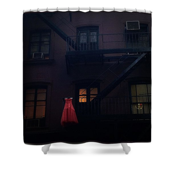 The Red Gown Shower Curtain