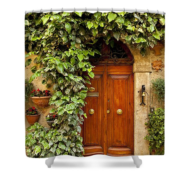 Shower Curtain featuring the photograph Tuscan Door by Brian Jannsen