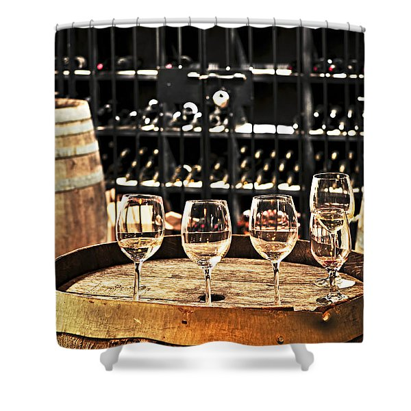 Wine Glasses And Barrels Shower Curtain
