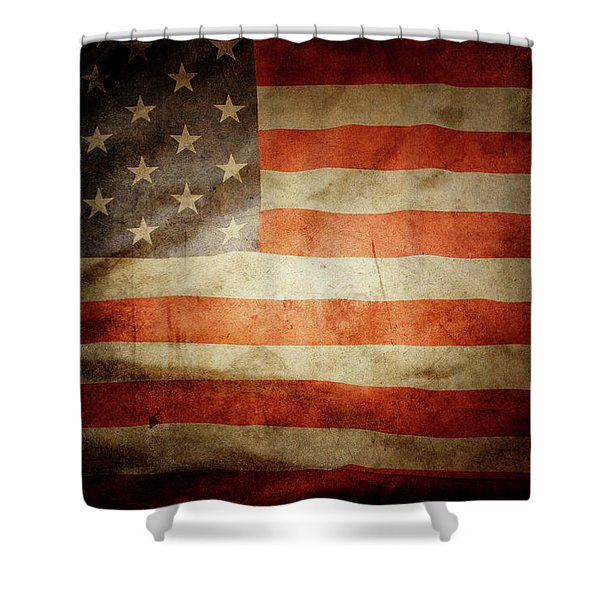 American Flag Rippled Shower Curtain