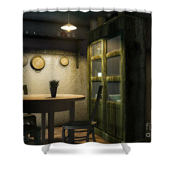 3d Dining Table Room Shower Curtain