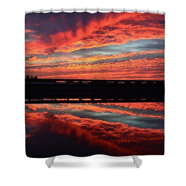 3d Sunset Shower Curtain