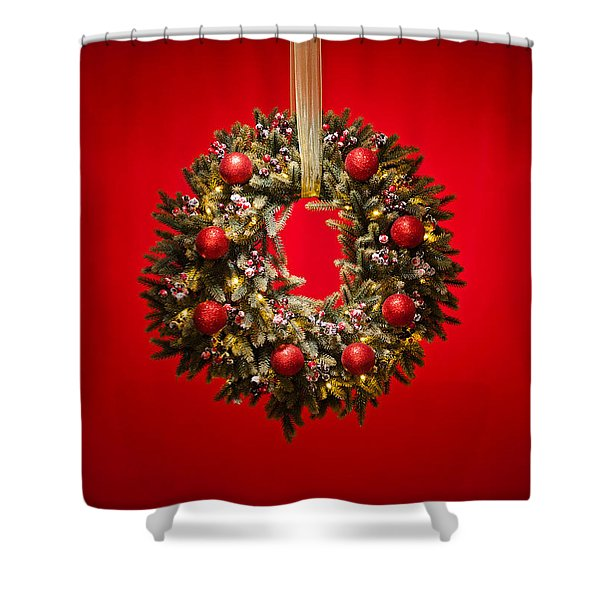 Advent Wreath Over Red Background Shower Curtain