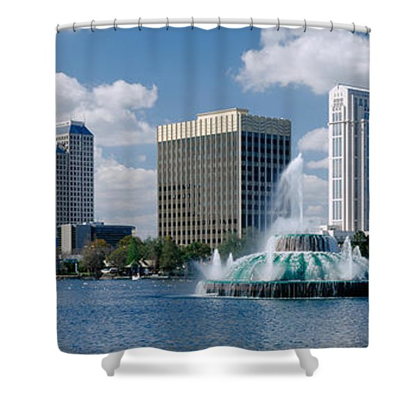 Buildings At The Waterfront, Lake Eola Shower Curtain