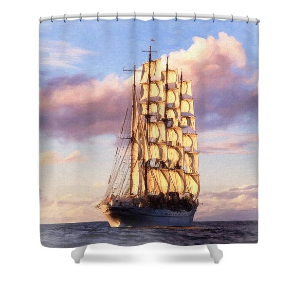 4 Mast Barque Shower Curtain