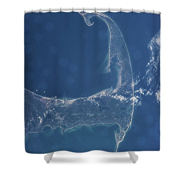 Satellite View Of Cape Cod National Shower Curtain