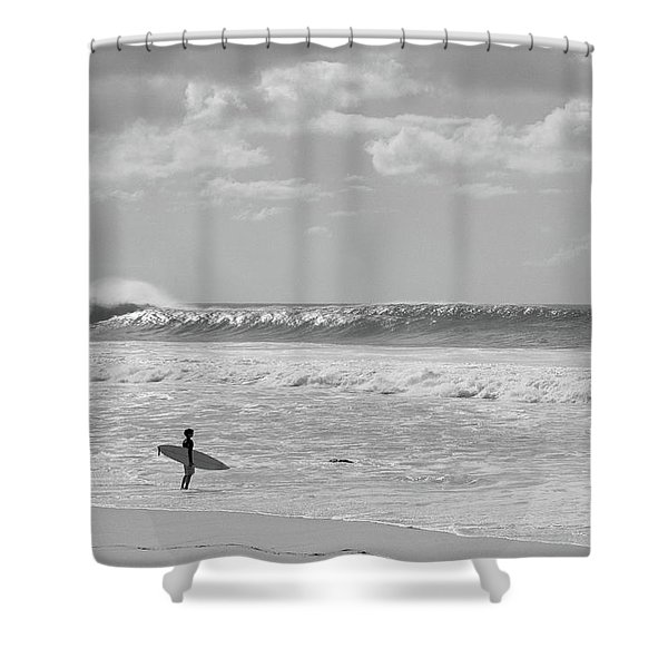Surfer Standing On The Beach, North Shower Curtain