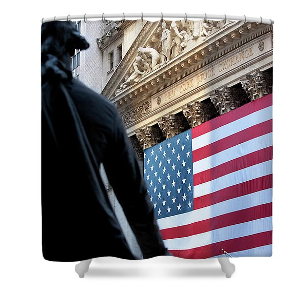 Shower Curtain featuring the photograph Wall Street Flag by Brian Jannsen