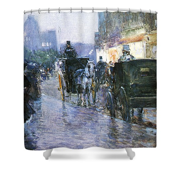 Horse Drawn Cabs At Evening Shower Curtain