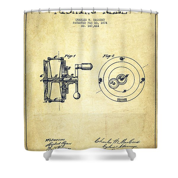 Fishing Reel Patent From 1874 Shower Curtain