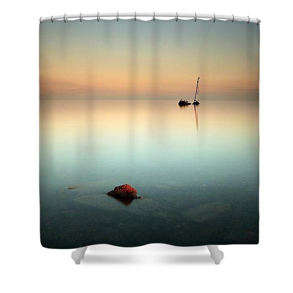 Flat Calm Shipwreck  Shower Curtain