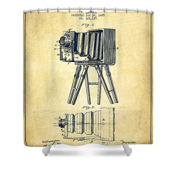 Photographic Camera Patent Drawing From 1885 Shower Curtain