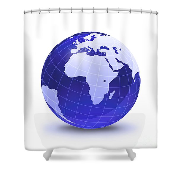 Stylized Earth Globe With Grid, Showing Shower Curtain