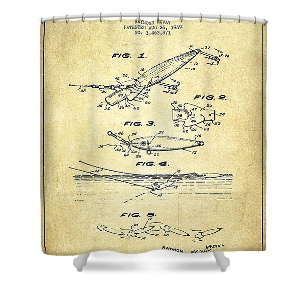 Vintage Fishing Lure Patent Drawing From 1969 Shower Curtain