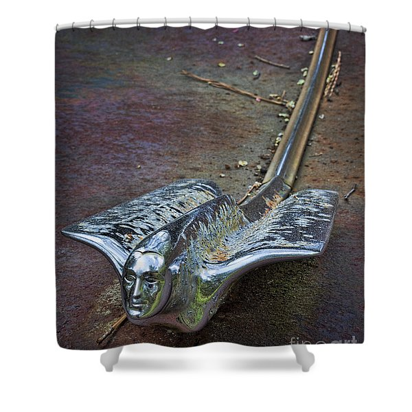 50s Cadillac Hood Ornament #2 Shower Curtain