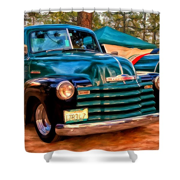 '51 Chevy Pickup With Teardrop Trailer Shower Curtain