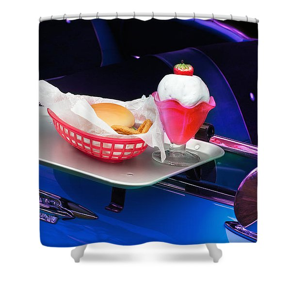 Shower Curtain featuring the photograph 57 Chevy At A Drive-in by Gunter Nezhoda