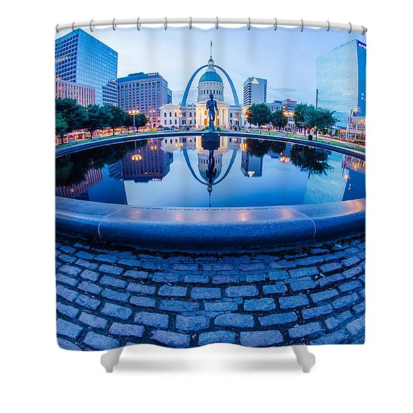Shower Curtain featuring the photograph St. Louis Downtown Skyline Buildings At Night by Alex Grichenko