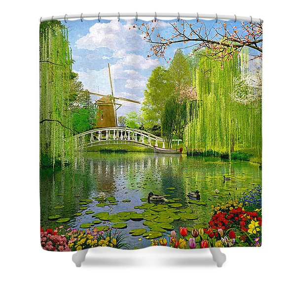 Windmill Lake Shower Curtain
