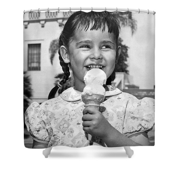 Girl With Ice Cream Cone Shower Curtain