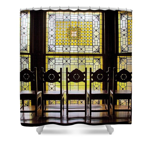 7 Chairs And Stained Glass Shower Curtain