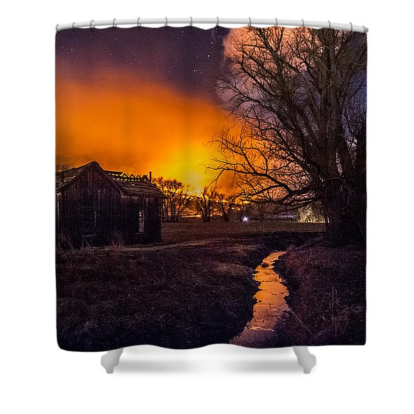 Round Fire Shower Curtain
