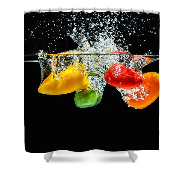 Splashing Paprika Shower Curtain