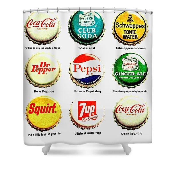 70s Soft Drink Slogans Shower Curtain