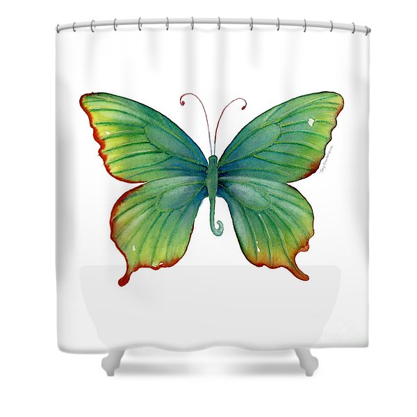 74 Green Flame Tip Butterfly Shower Curtain
