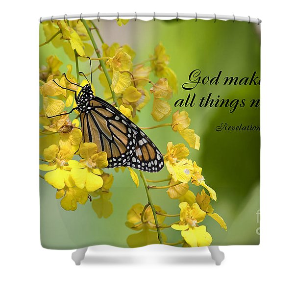 Butterfly Scripture Shower Curtain