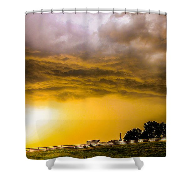 Shower Curtain featuring the photograph Late Afternoon Nebraska Thunderstorms by NebraskaSC